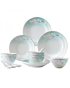 【包邮】Songfa 松发陶瓷18头桃花缘餐具套装 优质月光瓷 微波炉洗碗机适用