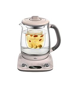 Bear小熊 全自动加厚玻璃电水壶养生壶YSH-C18R1 炖煮两用 双盖炖盅  粉玉兰色