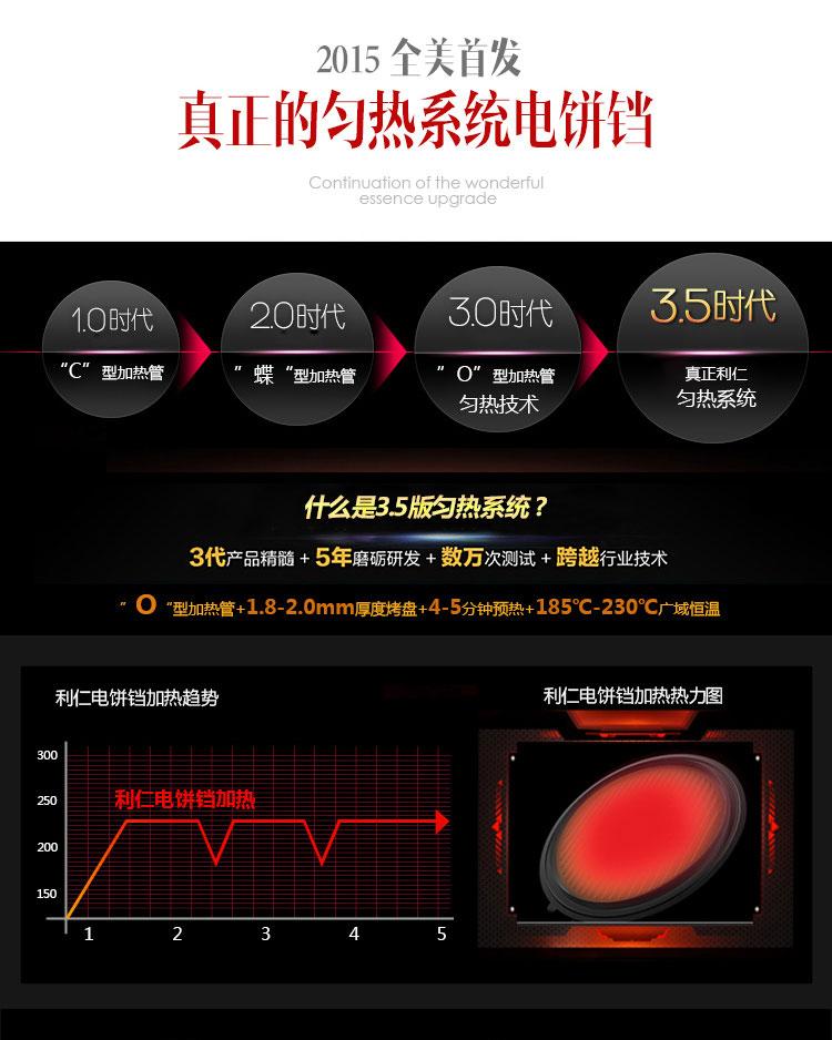 利仁电饼铛LR-A434真正的匀热系统